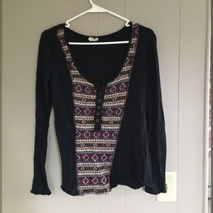 Free People Long Sleeve Top with Wool Insert